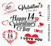happy valentine day message and ... | Shutterstock .eps vector #792111358