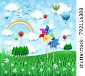 spring landscape with pinwheels ...   Shutterstock .eps vector #792116308