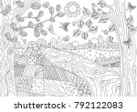 fancy landscape with rustic... | Shutterstock .eps vector #792122083