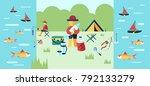 digital vector fishing activity ... | Shutterstock .eps vector #792133279