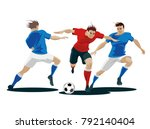 players are fighting for the... | Shutterstock .eps vector #792140404