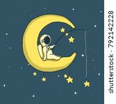 baby astronaut catches stars on ... | Shutterstock .eps vector #792142228