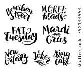 mardi gras lettering set. hand... | Shutterstock .eps vector #792144994