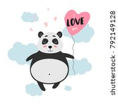 Stock vector i love you cute panda with balloon in the clouds vector illustration for valentine s day 792149128