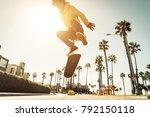 skater boy on the street in los ... | Shutterstock . vector #792150118