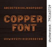 copper metal typeface. retro... | Shutterstock .eps vector #792163729