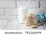 oat flakes in glass jar and... | Shutterstock . vector #792166999