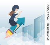 business woman running towards...   Shutterstock .eps vector #792167200