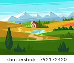 green fields with huge... | Shutterstock .eps vector #792172420