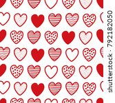 cute hand drawn hearts seamless ... | Shutterstock .eps vector #792182050