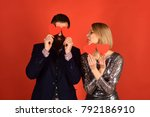 girl and bearded man with... | Shutterstock . vector #792186910