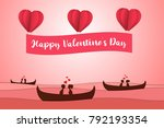 lovers sit on a boat in the... | Shutterstock .eps vector #792193354