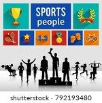 sportsmen sportswomen... | Shutterstock .eps vector #792193480