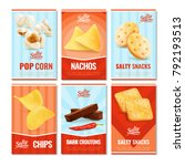 salty snacks cards collection... | Shutterstock .eps vector #792193513