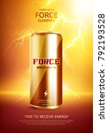 energy drink metal can poster | Shutterstock .eps vector #792193528