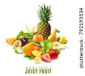 fresh ripe juicy fruit and... | Shutterstock .eps vector #792193534