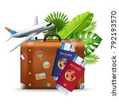 tropical vacation travel... | Shutterstock .eps vector #792193570