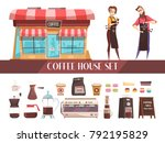coffee house two horizontal... | Shutterstock .eps vector #792195829