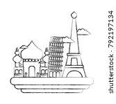 figure taj mahal and leaning...   Shutterstock .eps vector #792197134