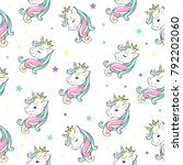 beautiful unicorn head seamless ... | Shutterstock .eps vector #792202060