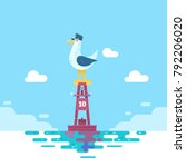 colorful seagull bird on blue...   Shutterstock .eps vector #792206020