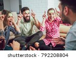 diverse people playing game... | Shutterstock . vector #792208804