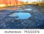 the road in city with dirty... | Shutterstock . vector #792222376