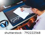 asian male composer writing... | Shutterstock . vector #792222568