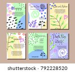 a set of cards with flowers  ... | Shutterstock .eps vector #792228520