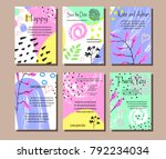 a set of cards with flowers  ...   Shutterstock .eps vector #792234034