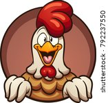 cartoon chicken peeking out of... | Shutterstock .eps vector #792237550