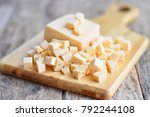 Cheese cut into cubes on a...