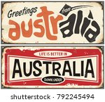 greetings from australia retro... | Shutterstock .eps vector #792245494
