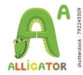letter a. alligator  cute... | Shutterstock .eps vector #792245509