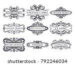 set of vintage calligraphic... | Shutterstock .eps vector #792246034