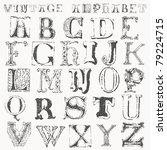 hand drawn vintage alphabet | Shutterstock .eps vector #79224715