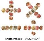Shell alphabet, white background isolated - stock photo