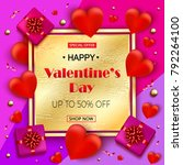 valentines day sale elegant... | Shutterstock .eps vector #792264100