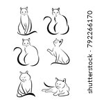 Stock vector a set of cats in different poses 792266170