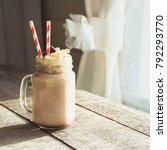 chocolate coffee milkshake with ... | Shutterstock . vector #792293770