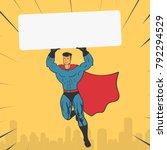 template super hero holds a...   Shutterstock .eps vector #792294529