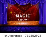 a theater stage with a blue... | Shutterstock .eps vector #792302926