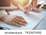 architects engineer discussing... | Shutterstock . vector #792307450