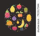 cute cartoon exotic fruit... | Shutterstock .eps vector #792317344