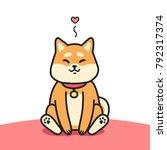 cute sitting shiba inu dog and... | Shutterstock .eps vector #792317374