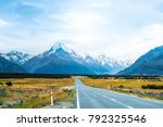 Beautiful scene of road on th way to to Mt cook. Christchurch, New Zealand