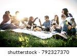 group of friends having fun... | Shutterstock . vector #792327370