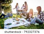 group of friends having fun... | Shutterstock . vector #792327376