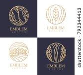 nature logo set. floral logo.... | Shutterstock .eps vector #792344413