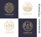 nature logo set. floral logo.... | Shutterstock .eps vector #792344416